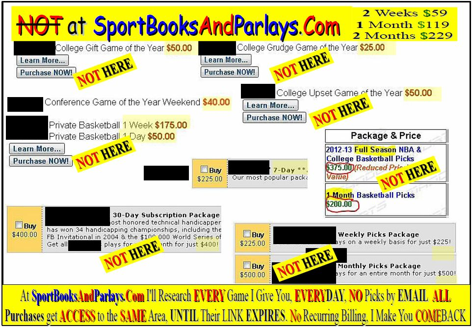 HANDICAPPERS Picks NBA,NCAA, Basketball, Football, Prices Scares You